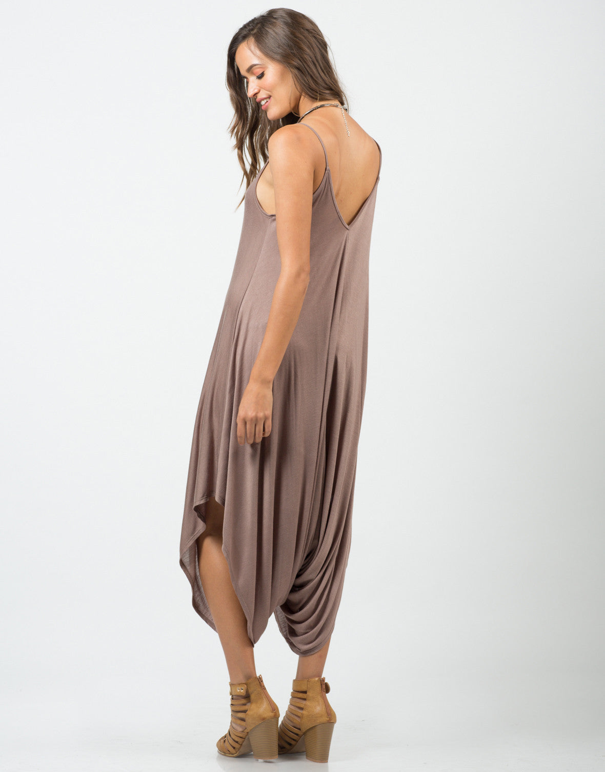 Back View of Draped Sides Romper