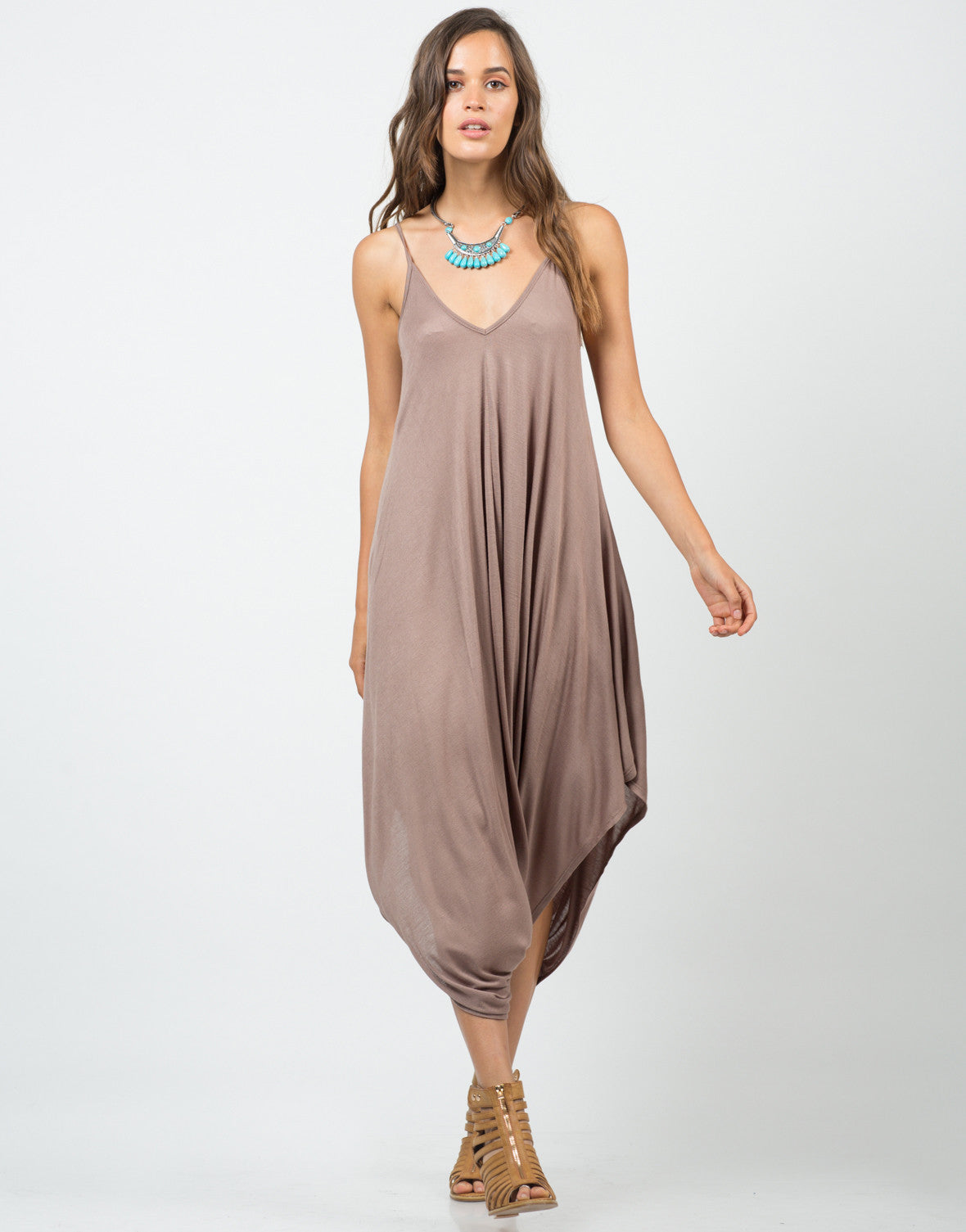 Front View of Draped Sides Romper