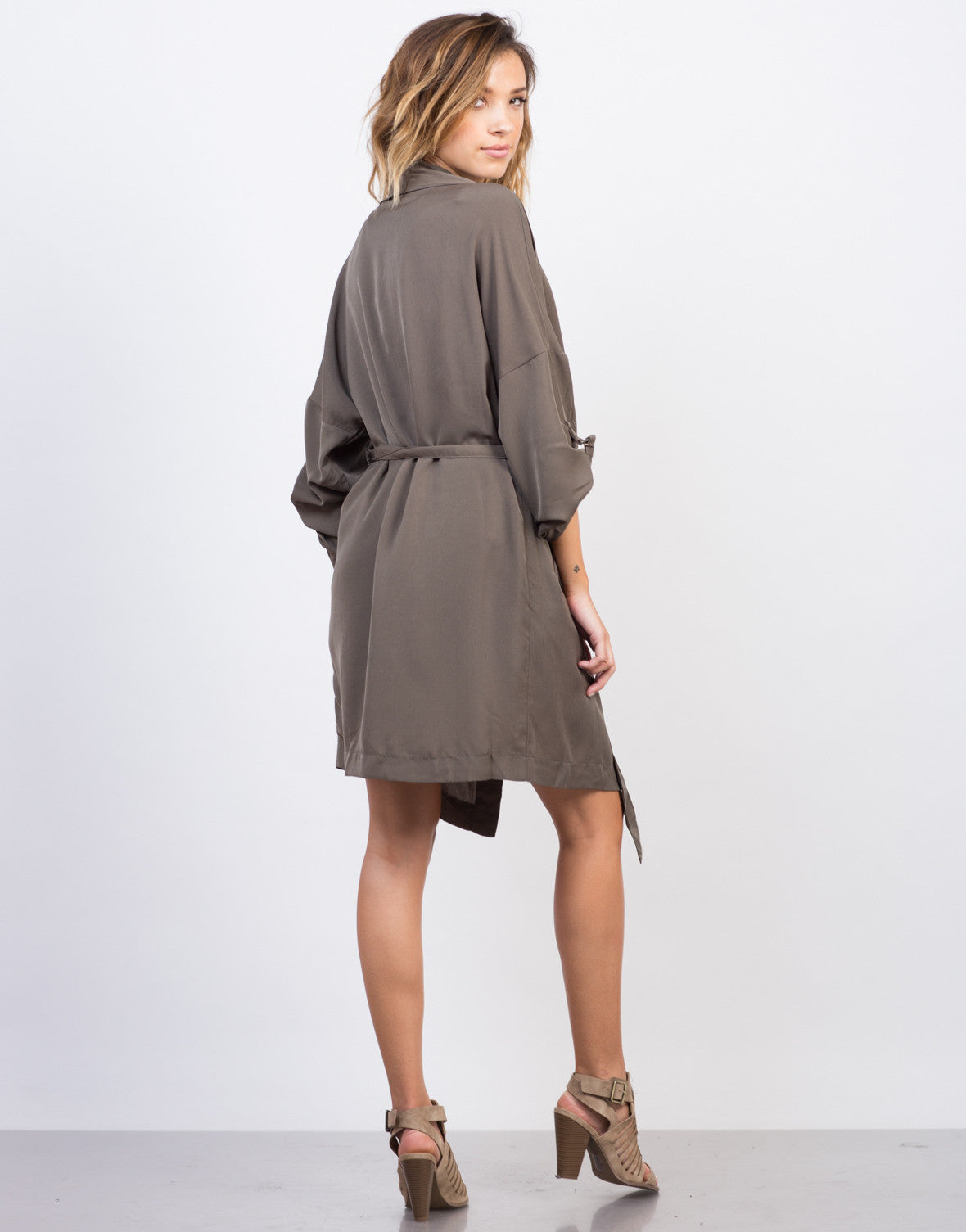 Back View of Drapey Anorak Trench Jacket