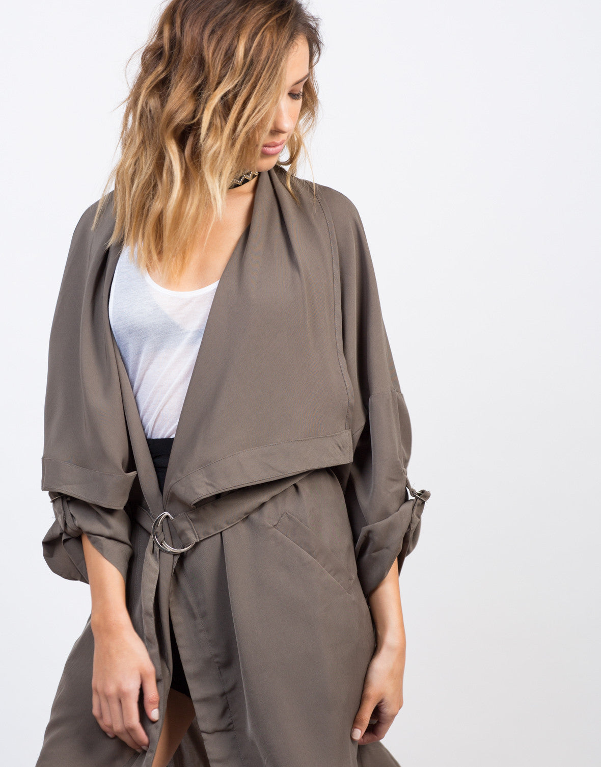 Detail of Drapey Anorak Trench Jacket