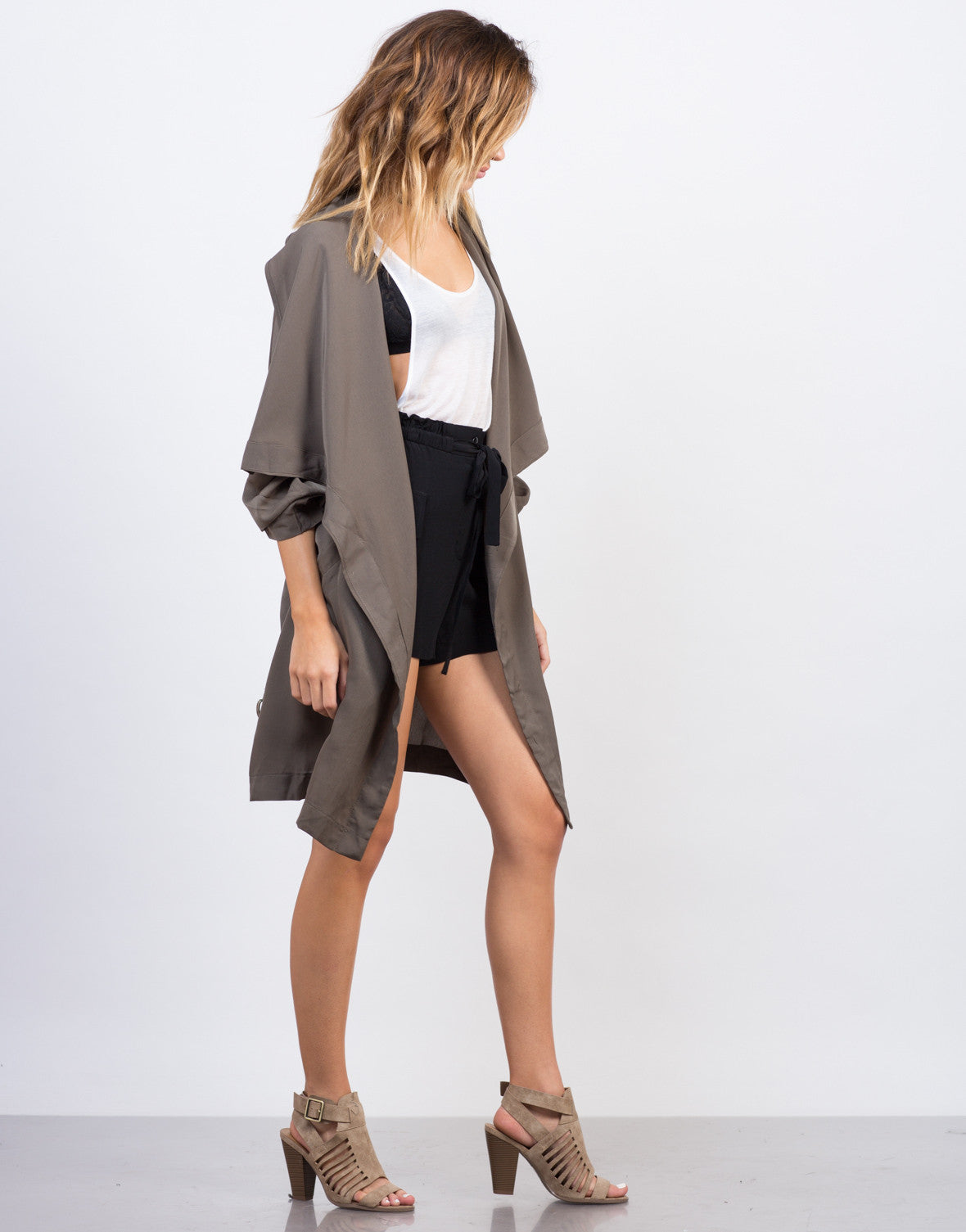 Side View of Drapey Anorak Trench Jacket