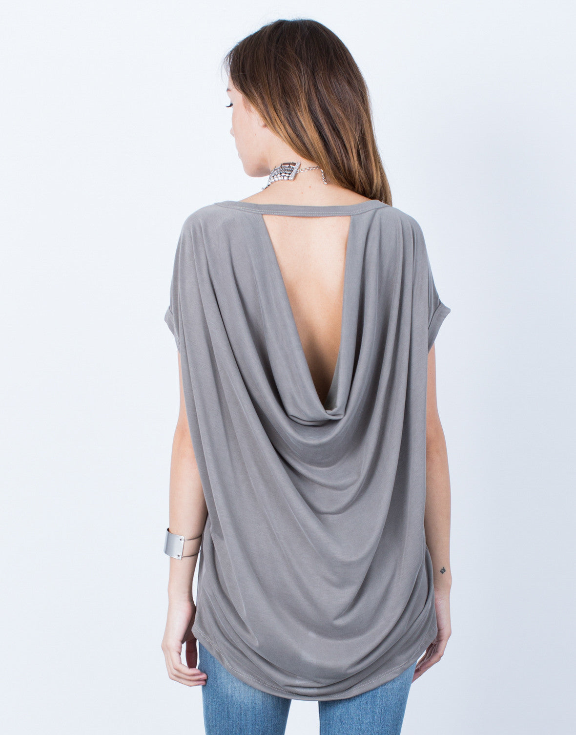 Back View of Drapey Keyhole Top