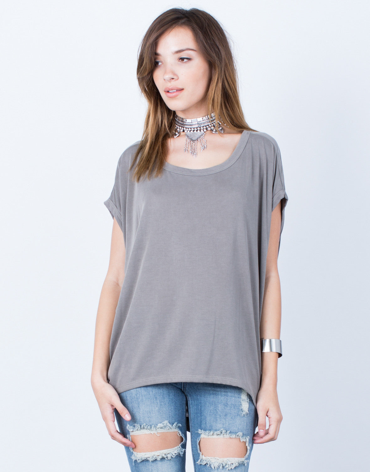 Front View of Drapey Keyhole Top