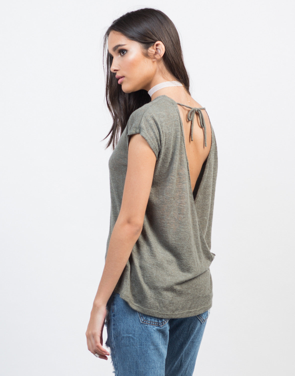 Back View of Drapey Open Back Top