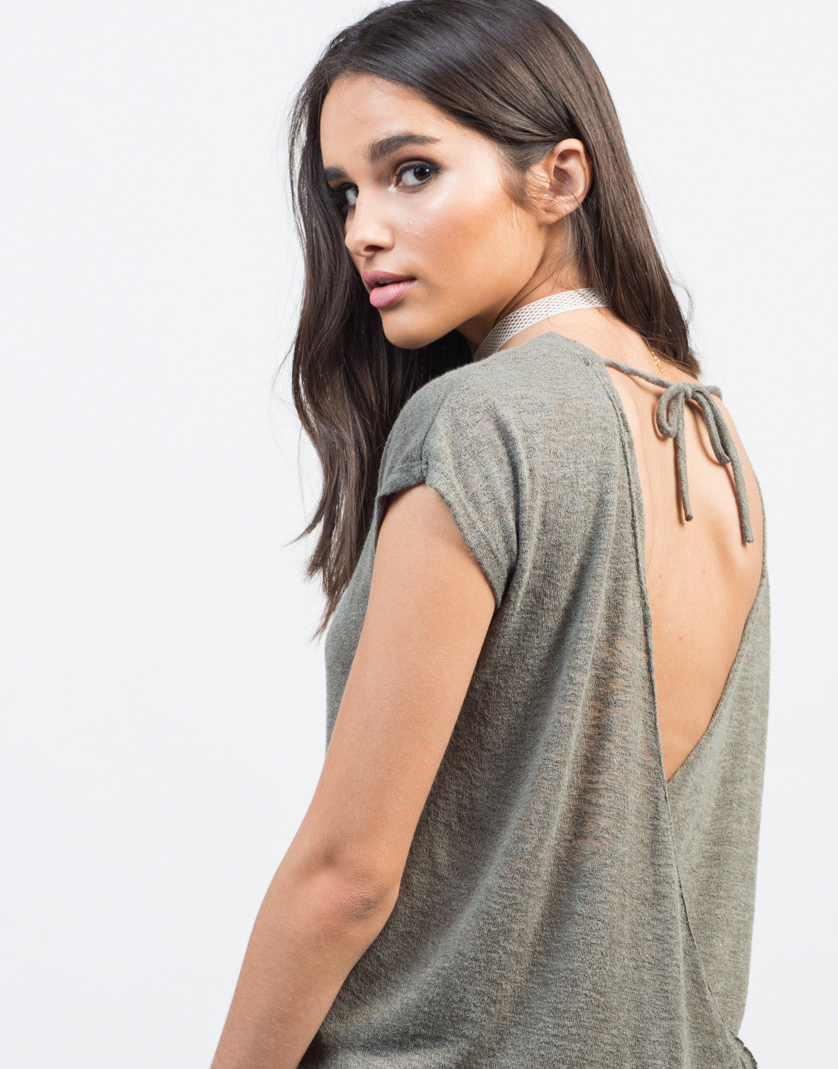 Detail of Drapey Open Back Top