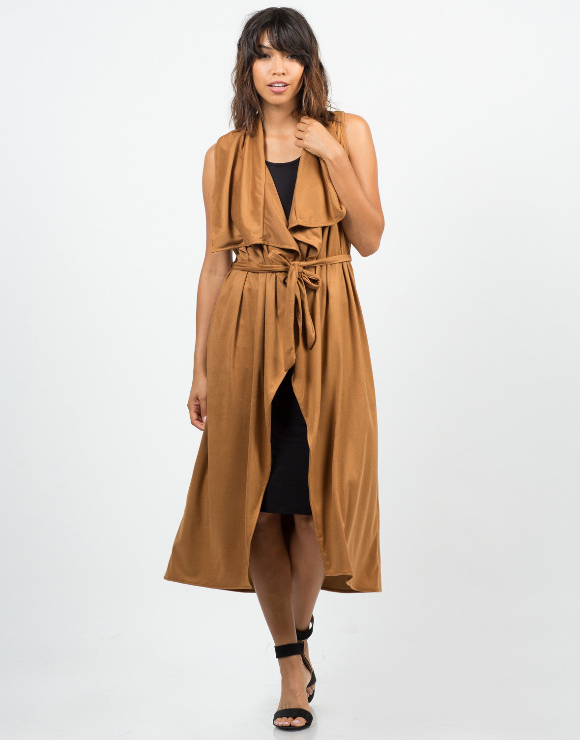 Front View of Drapey Camel Sleeveless Jacket