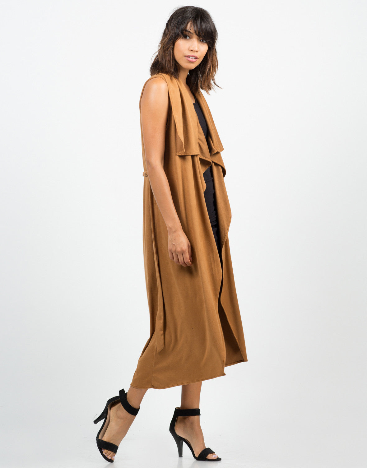 Drapey Camel Sleeveless Jacket - 2020AVE
