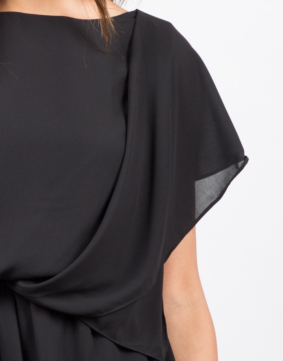 Detail of Drapey Chiffon Dress