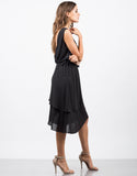 Side View of Drapey Chiffon Dress