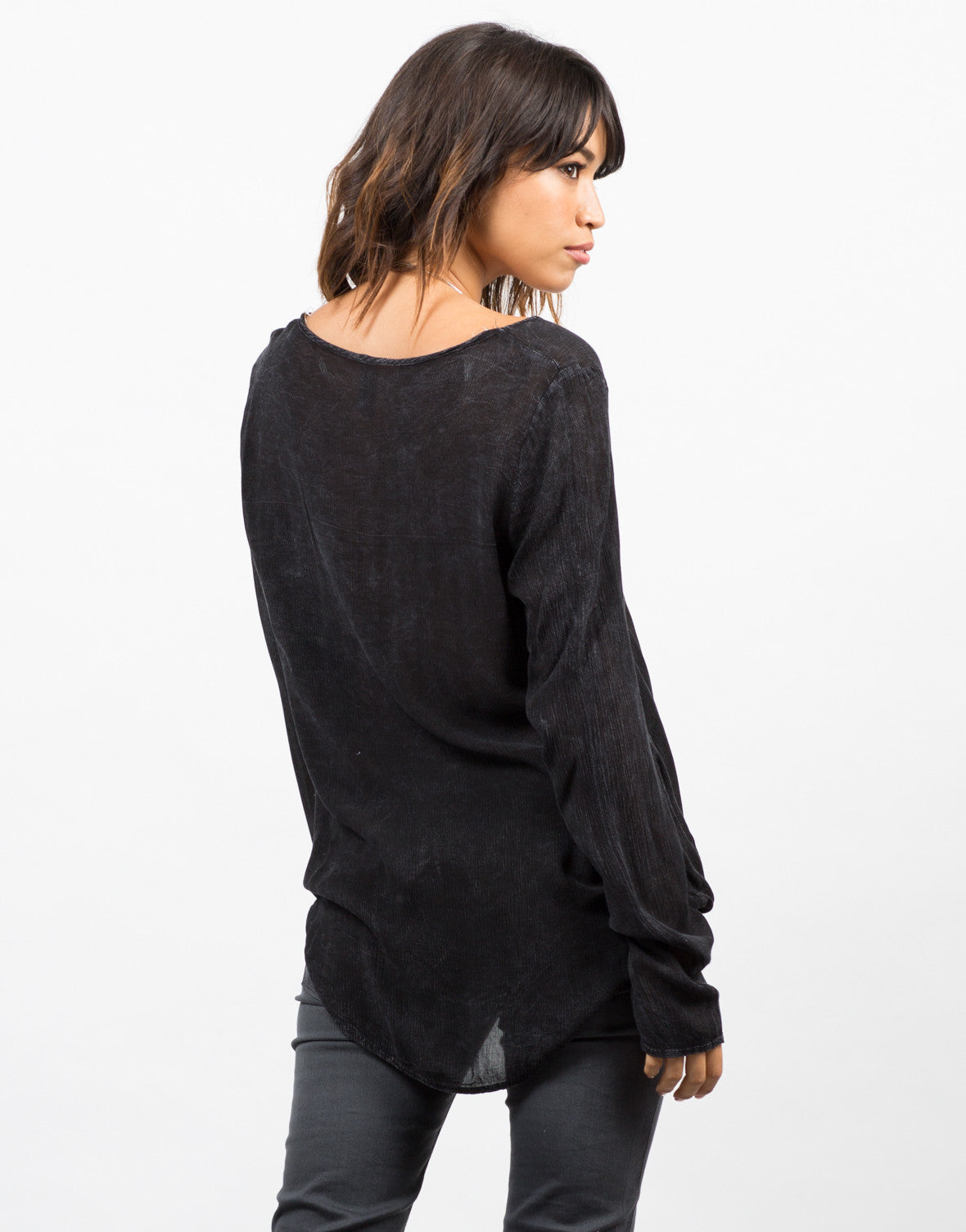 Back View of Drapey Front Blouse