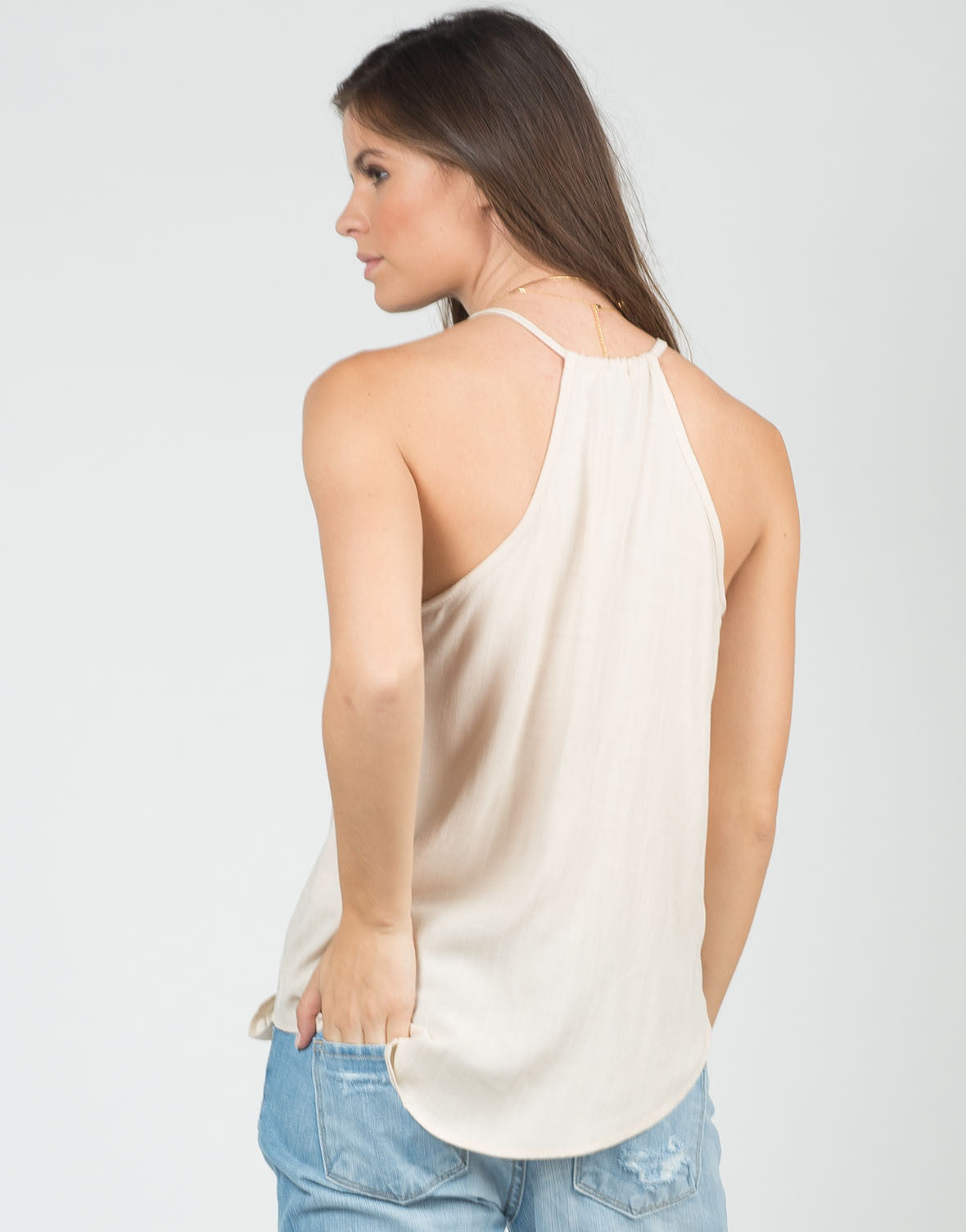 Back View of Drapey Front Cami Top