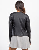 Back View of Drapey Lightweight Leatherette Jacket