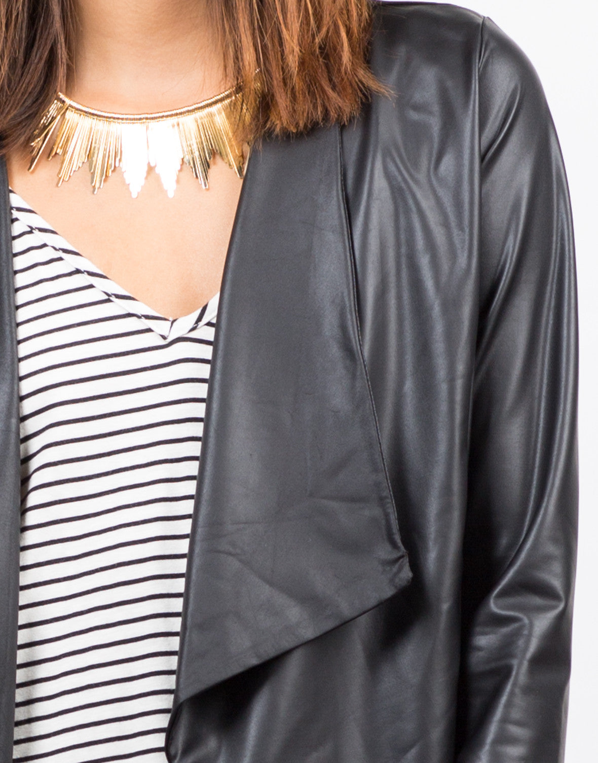 Detail of Drapey Lightweight Leatherette Jacket