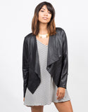 Front View of Drapey Lightweight Leatherette Jacket