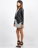 Side View of Drapey Lightweight Leatherette Jacket