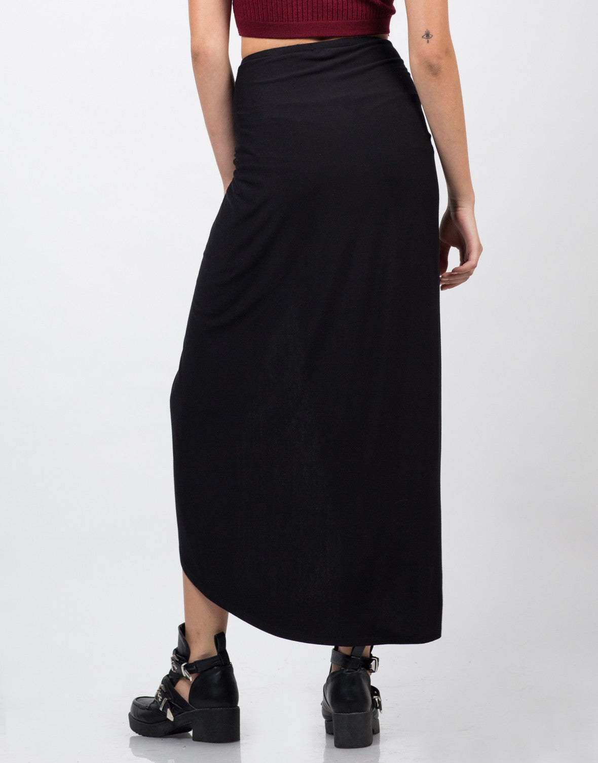 Back View of Drapey Maxi Skirt