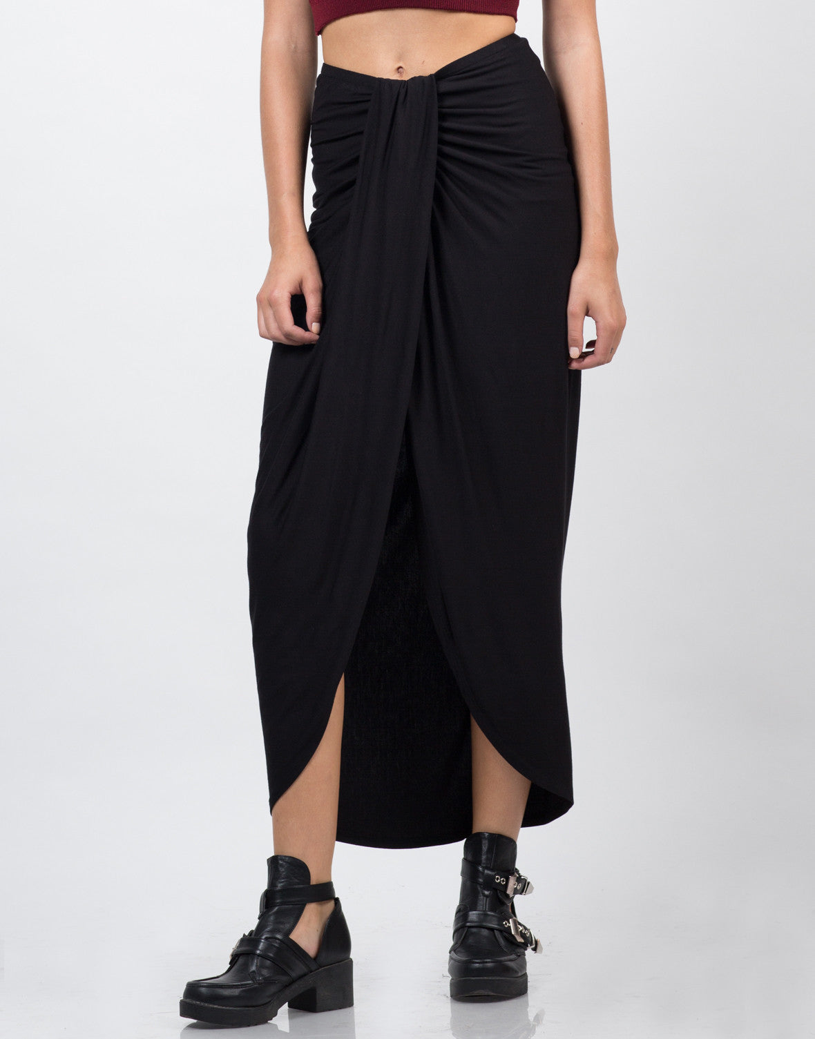Front View of Drapey Maxi Skirt