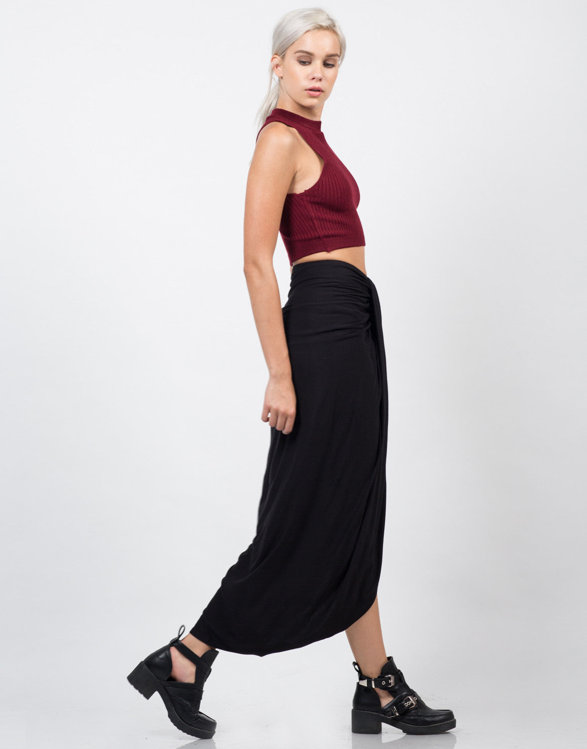 Side View of Drapey Maxi Skirt
