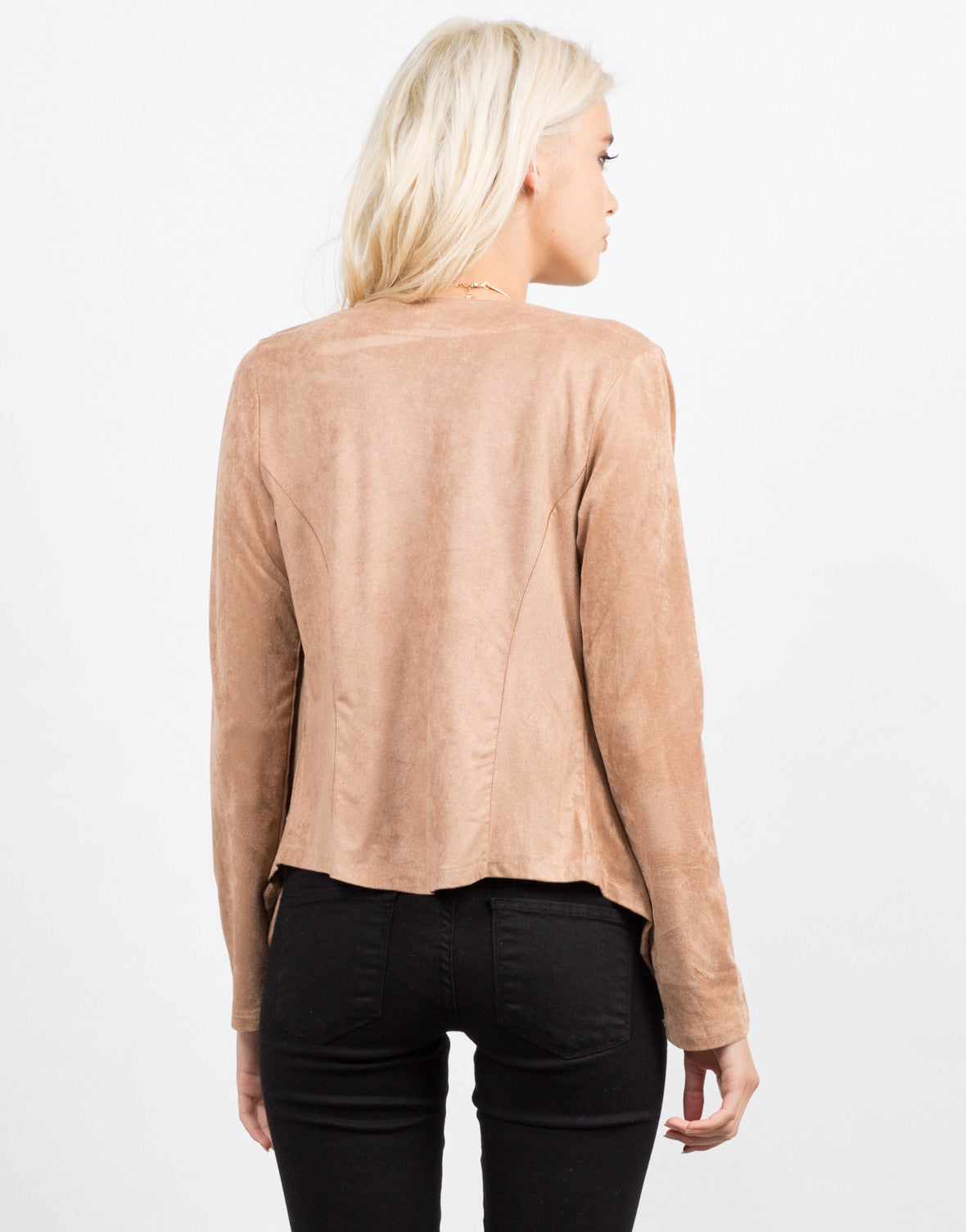 Back View of Drapey Suede Cardigan