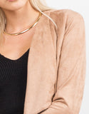 Detail of Drapey Suede Cardigan
