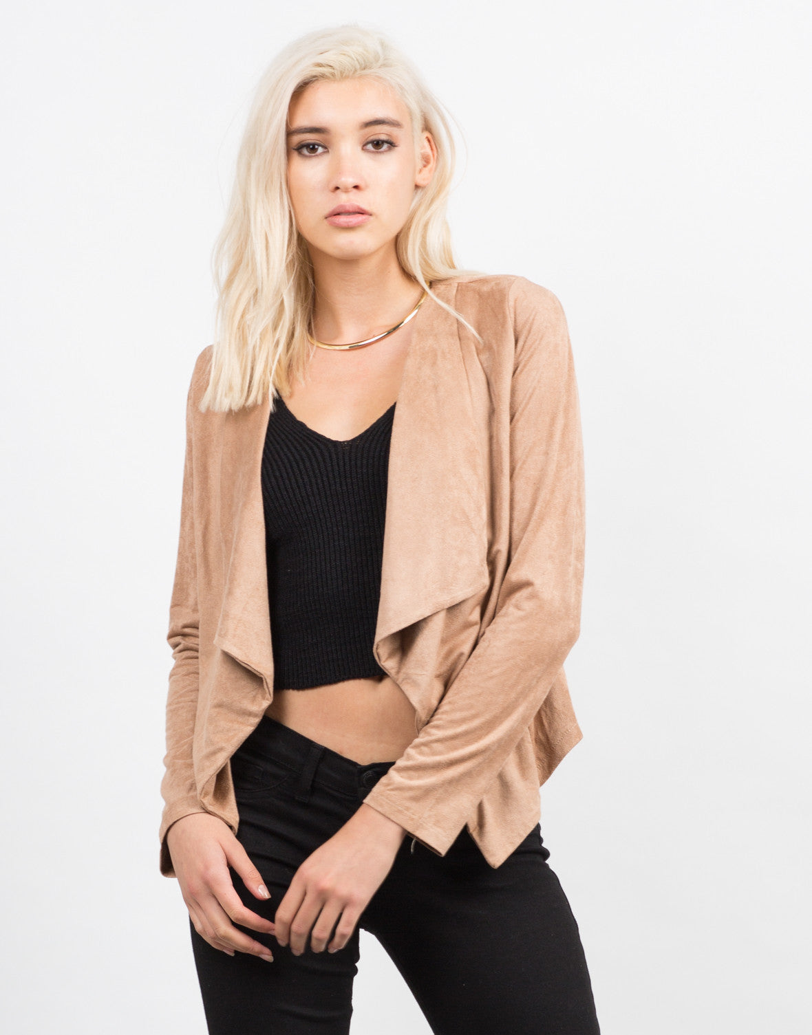 Front View of Drapey Suede Cardigan