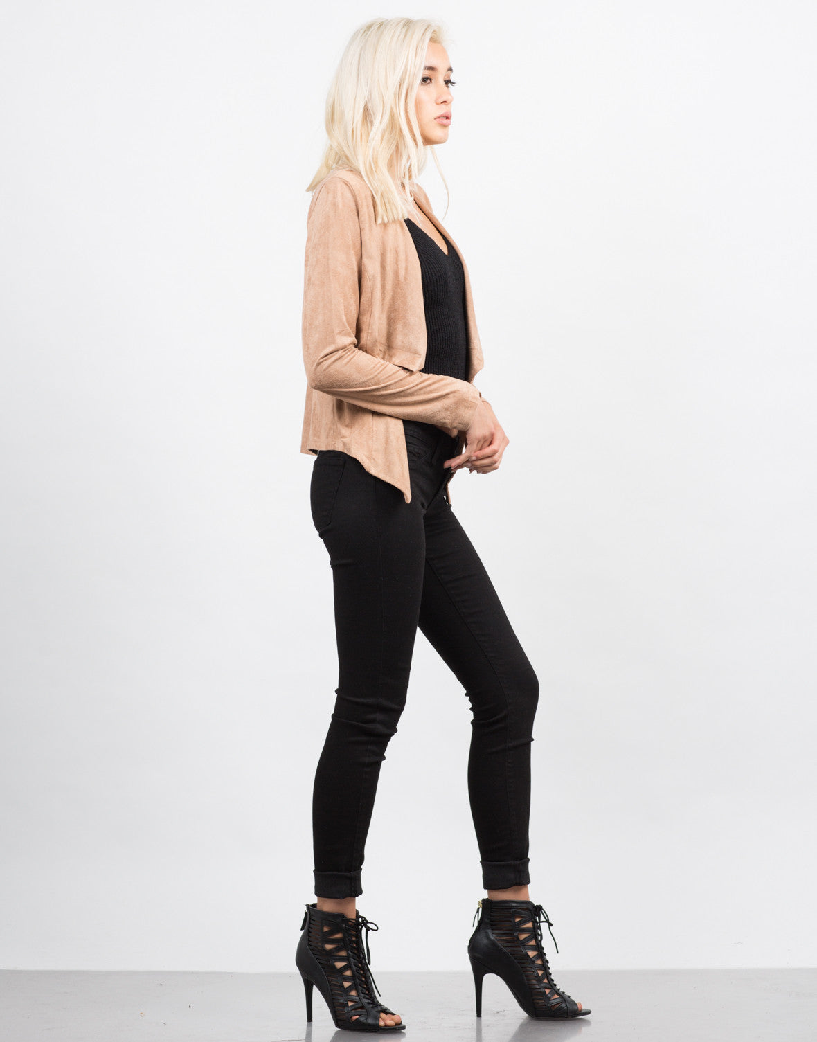 Side View of Drapey Suede Cardigan