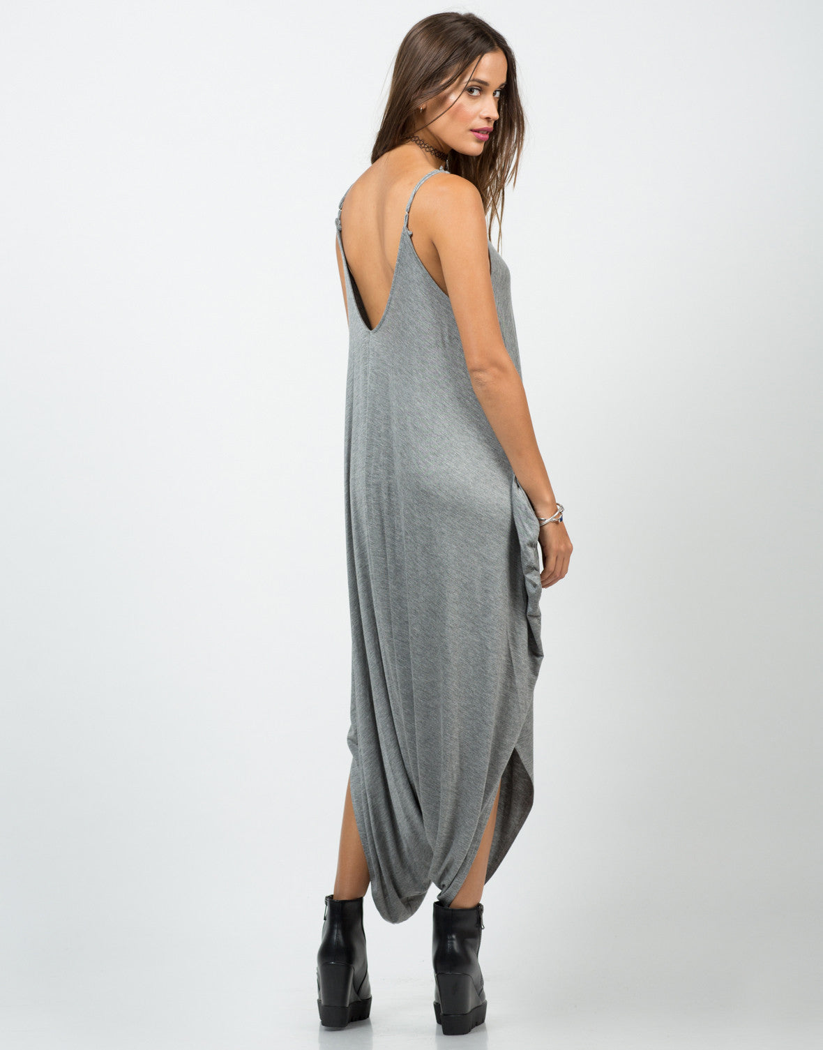 Back View of Drapey Tank Jumpsuit