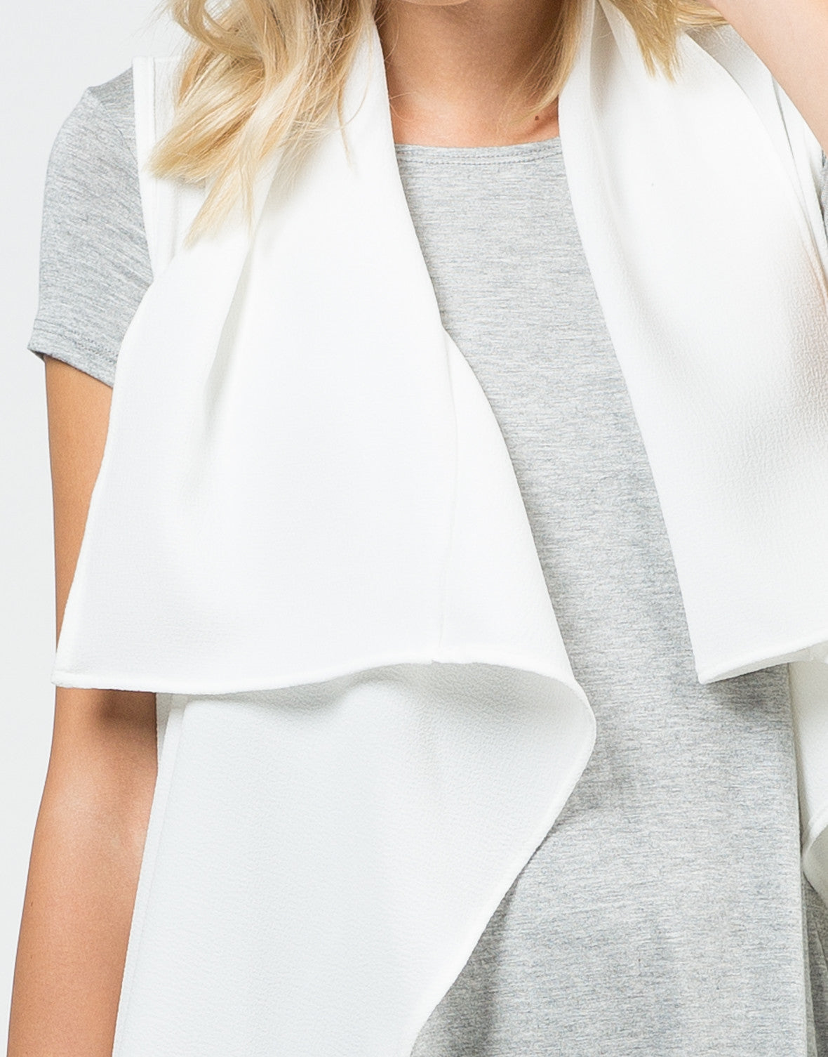 Detail of Drapey White Trench Jacket