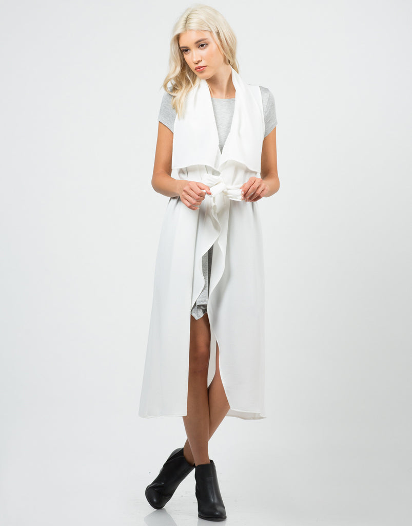 Drapey White Trench Jacket - 2020AVE