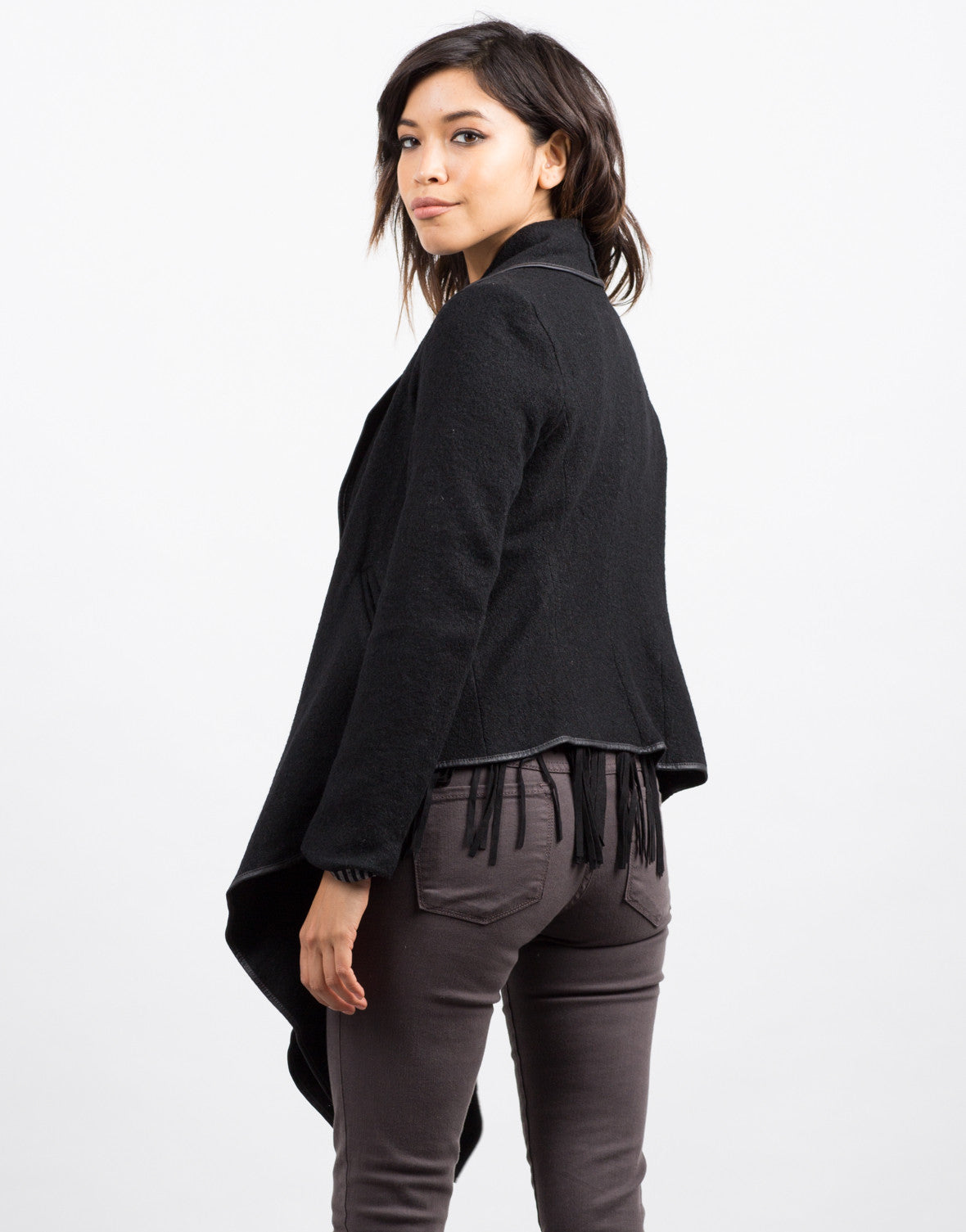 Back View of Draped Wool Jacket