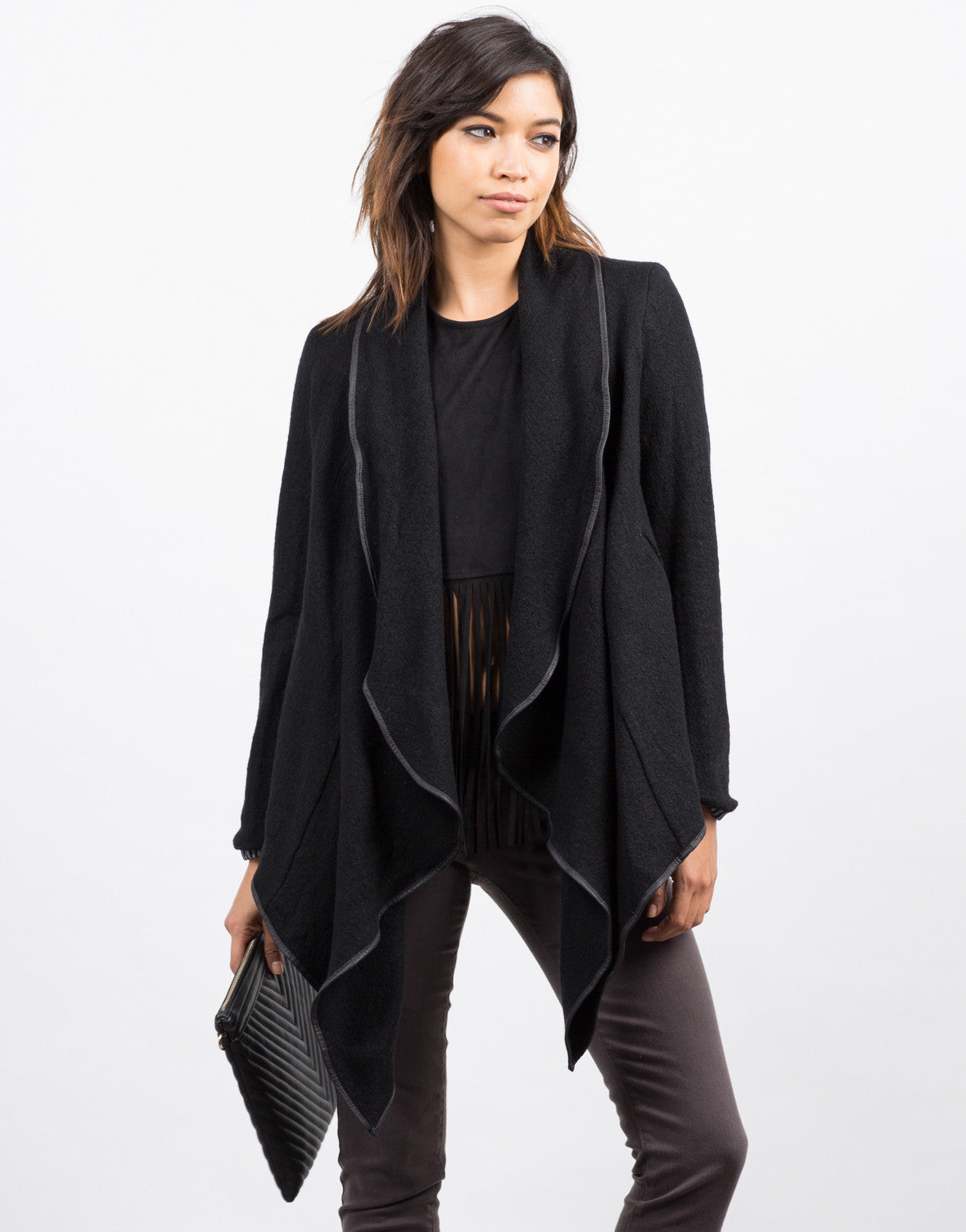 Front View of Draped Wool Jacket
