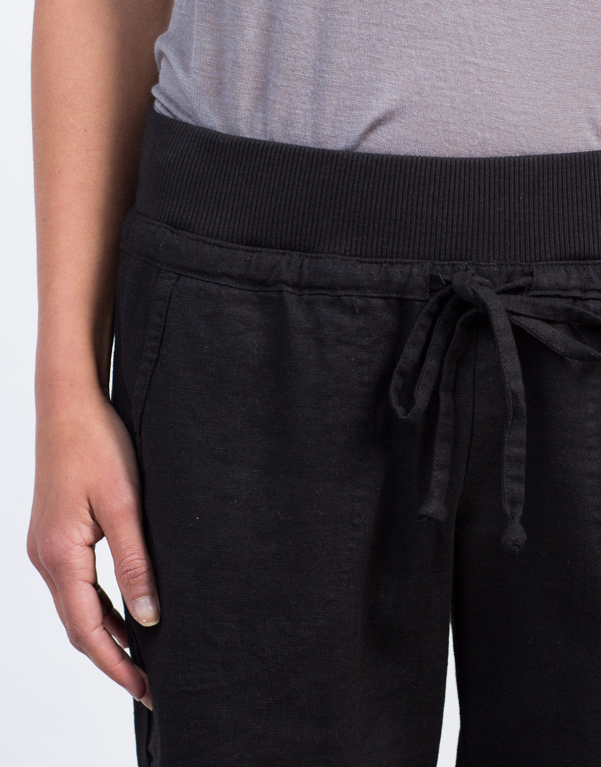 Detail of Drawstring Linen Joggers