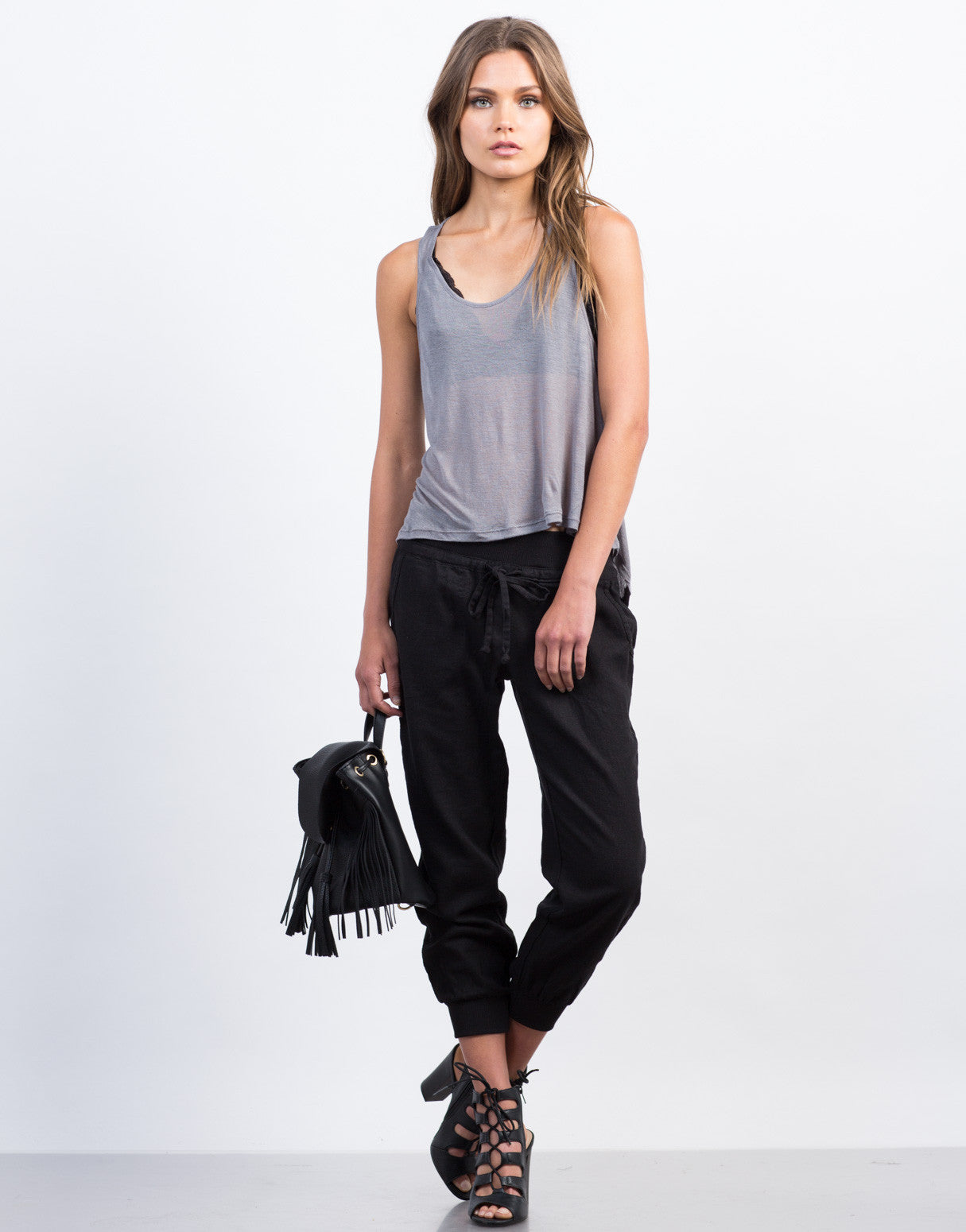 Front View of Drawstring Linen Joggers
