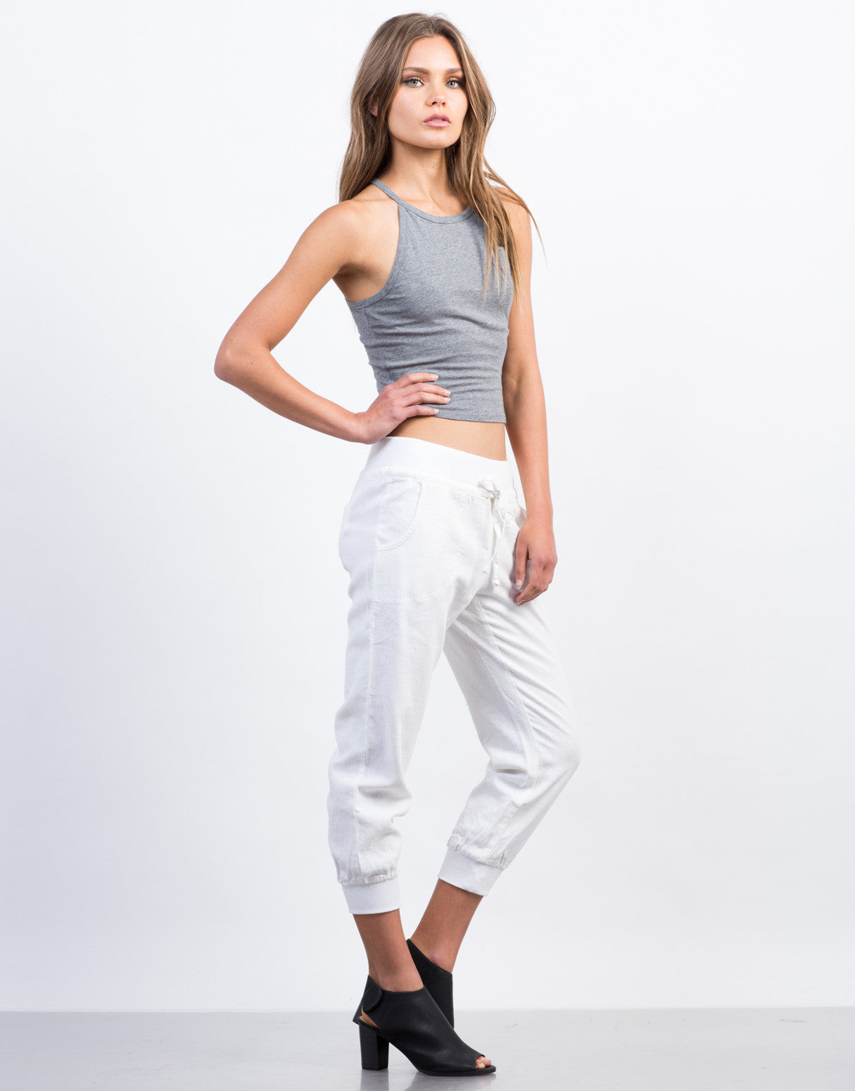 Side View of Drawstring Linen Joggers