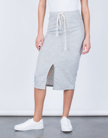 Front View of Drawstring Midi Skirt