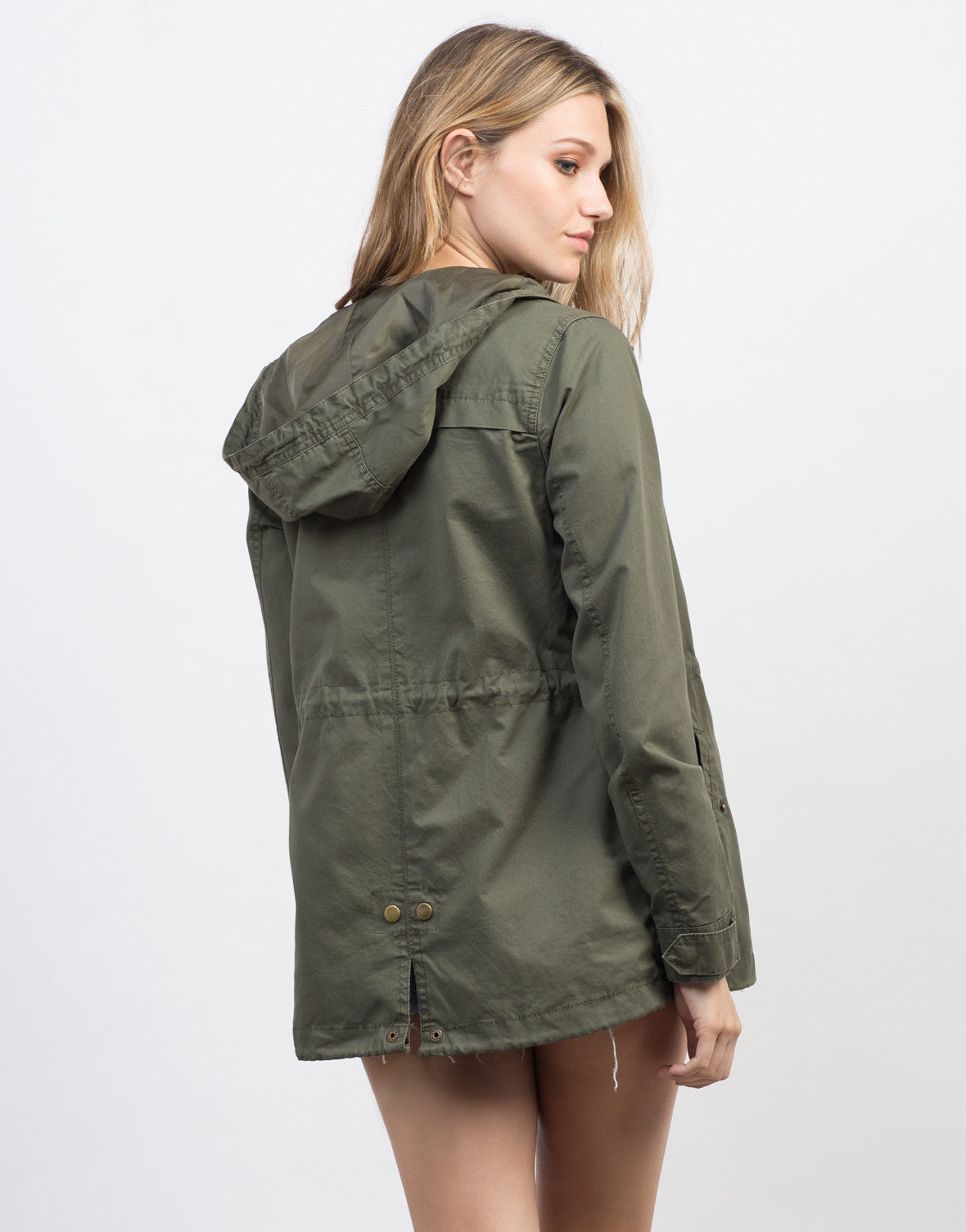 Back View of Drawstring Waist Hooded Military Jacket
