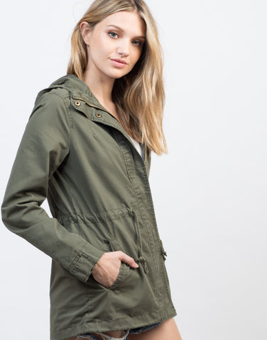 Detail of Drawstring Waist Hooded Military Jacket