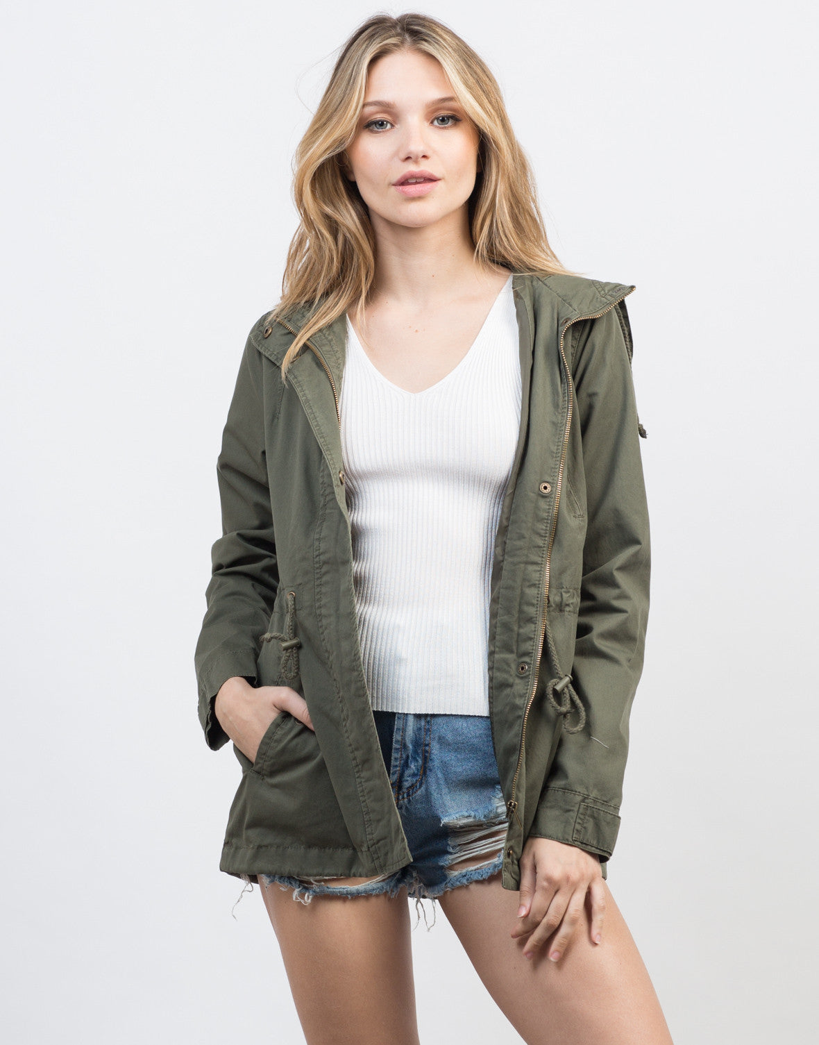 Front View of Drawstring Waist Hooded Military Jacket
