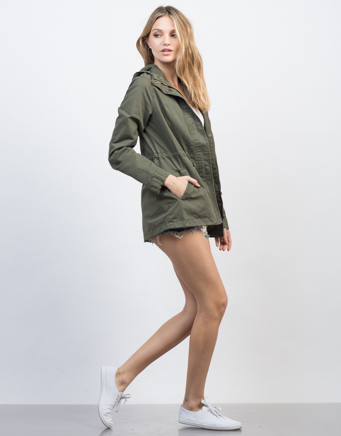 Side View of Drawstring Waist Hooded Military Jacket