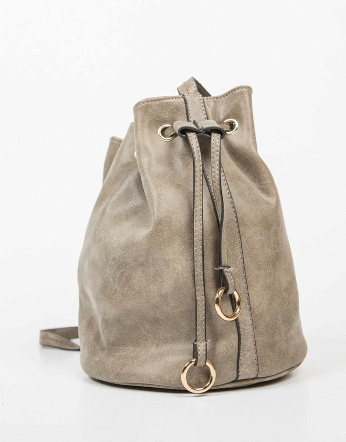 Side View of Drawstring Bucket Bag