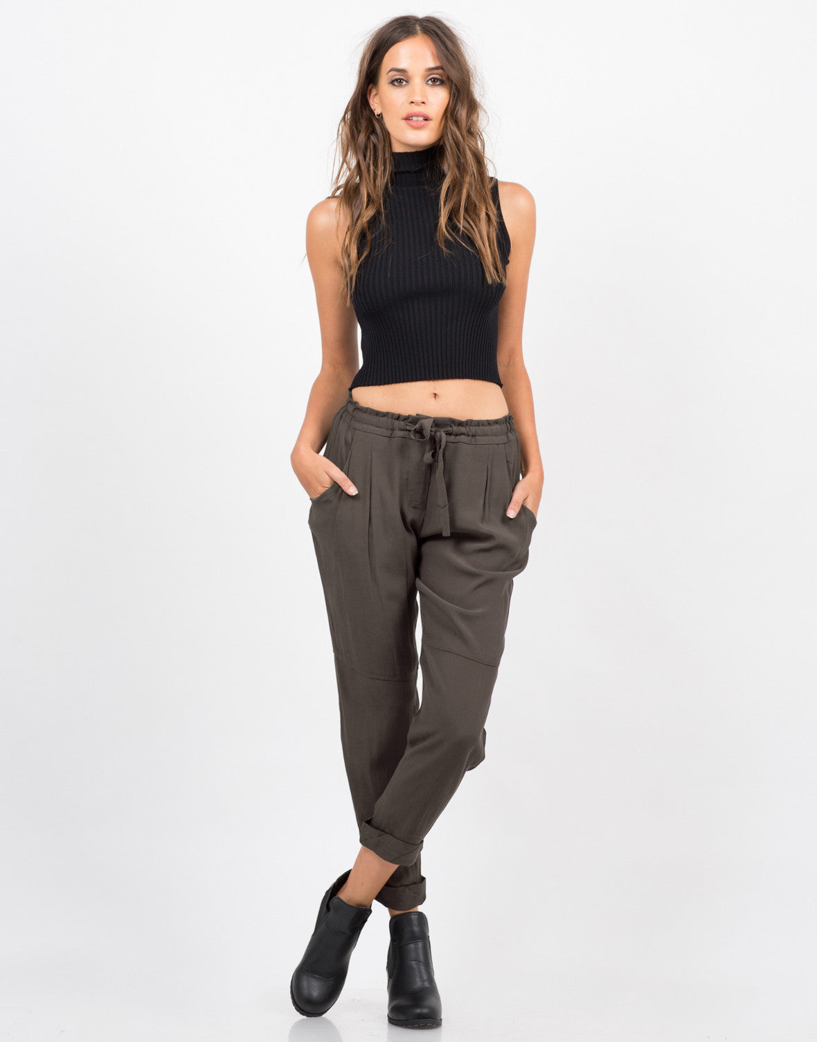 Front View of Drawstring Cuffed Pants