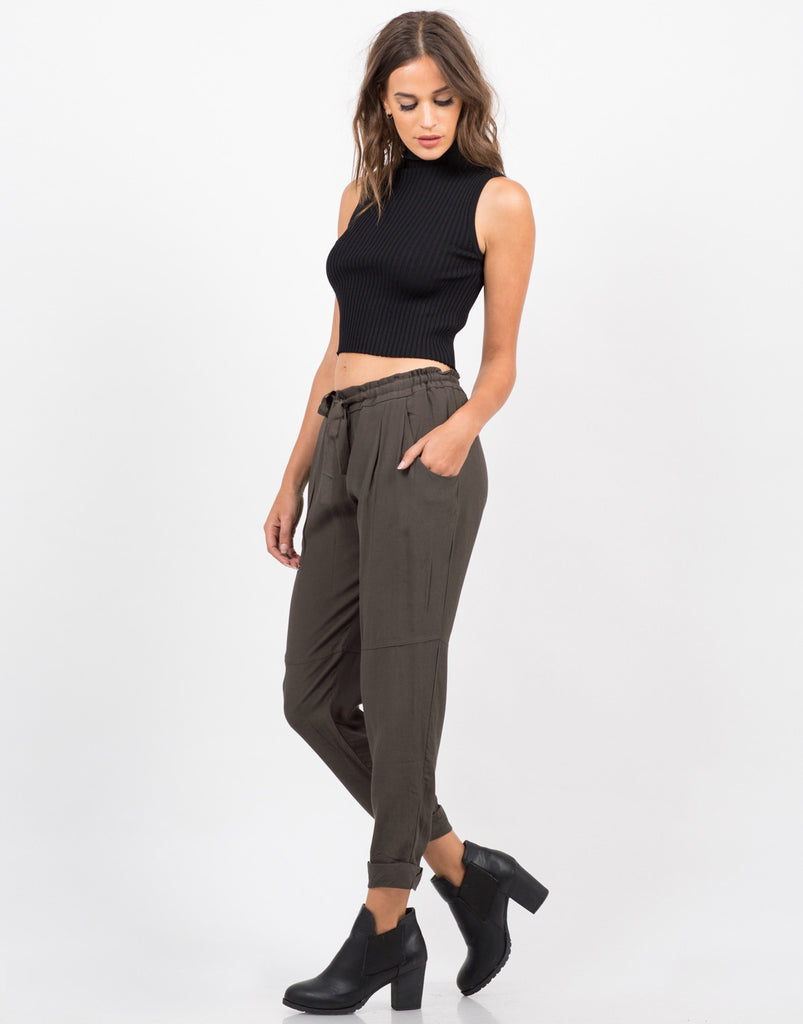 Drawstring Cuffed Pants - 2020AVE
