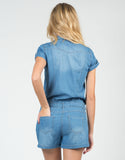 Back View of Drawstring Denim Romper