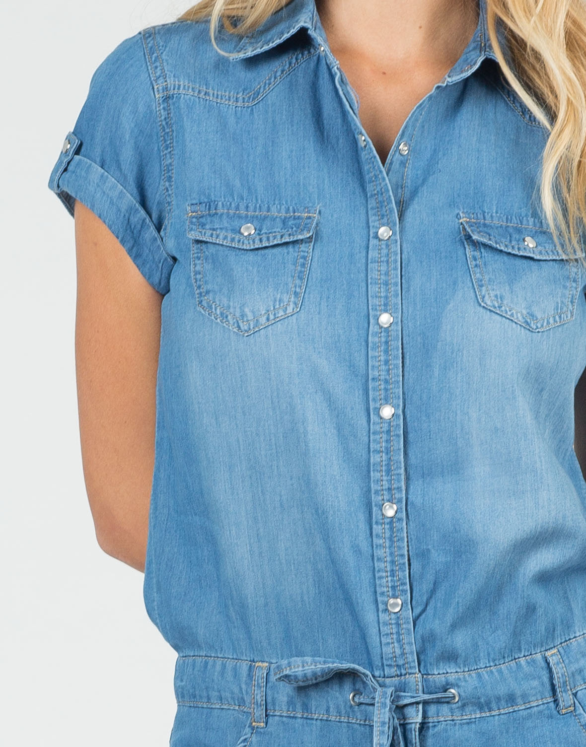 Detail of Drawstring Denim Romper