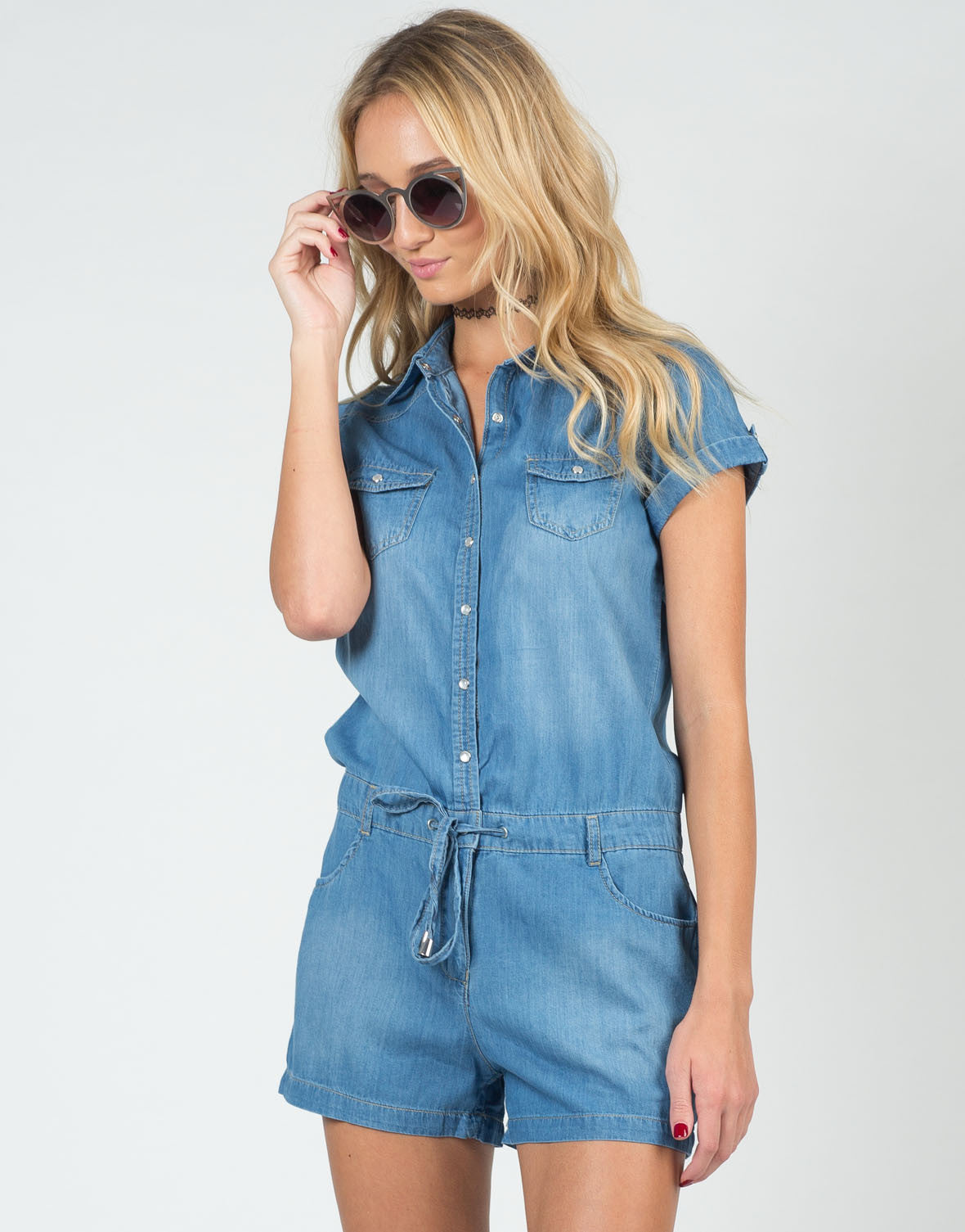 Front View of Drawstring Denim Romper