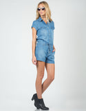 Side View of Drawstring Denim Romper