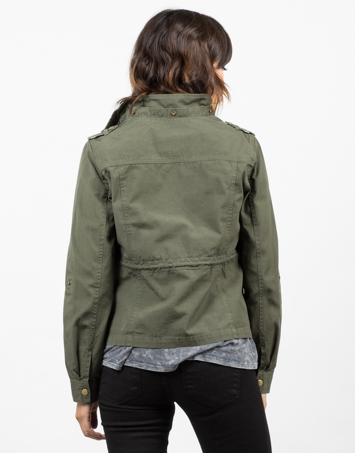 Back View of Drawstring Field Jacket