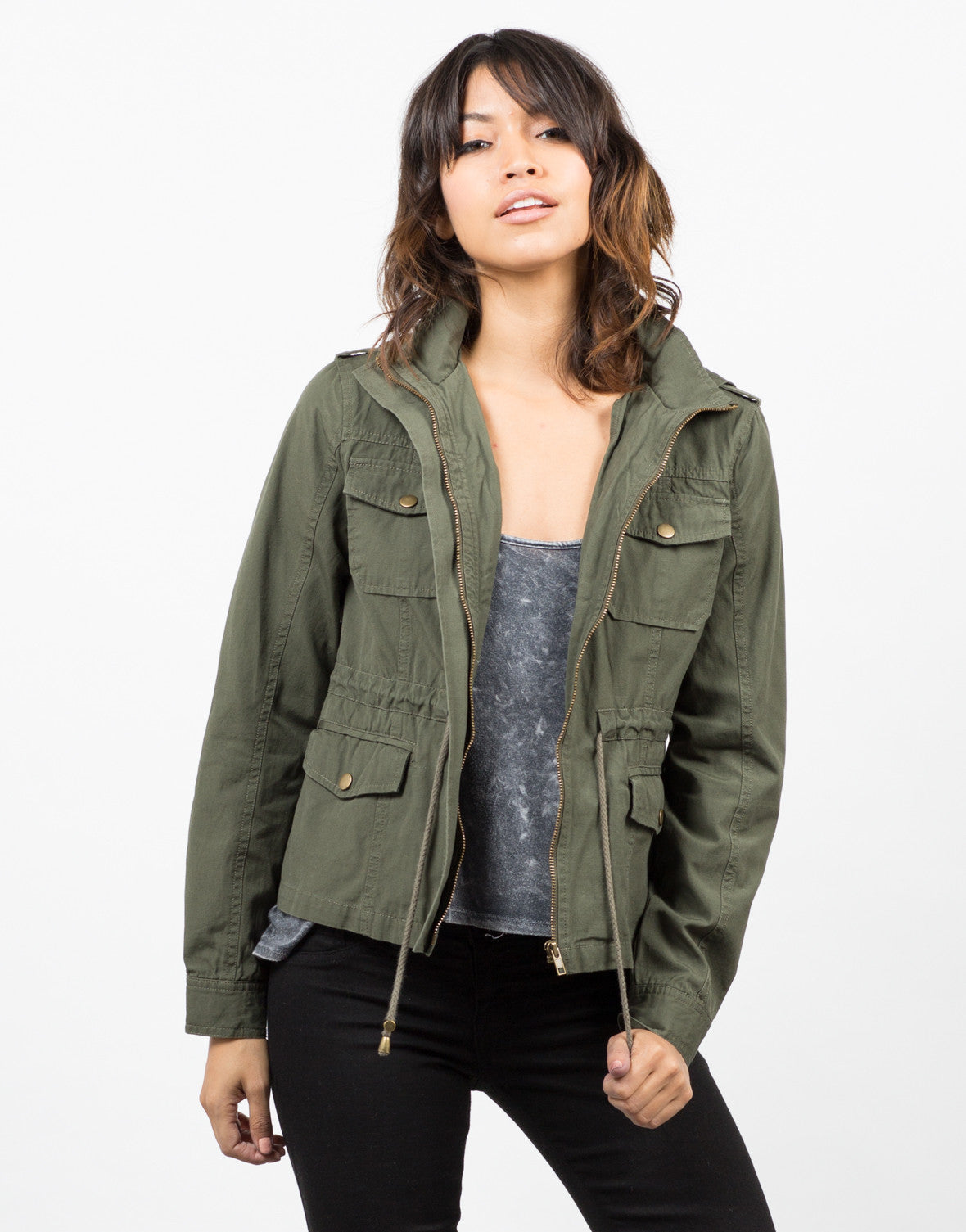 Front View of Drawstring Field Jacket