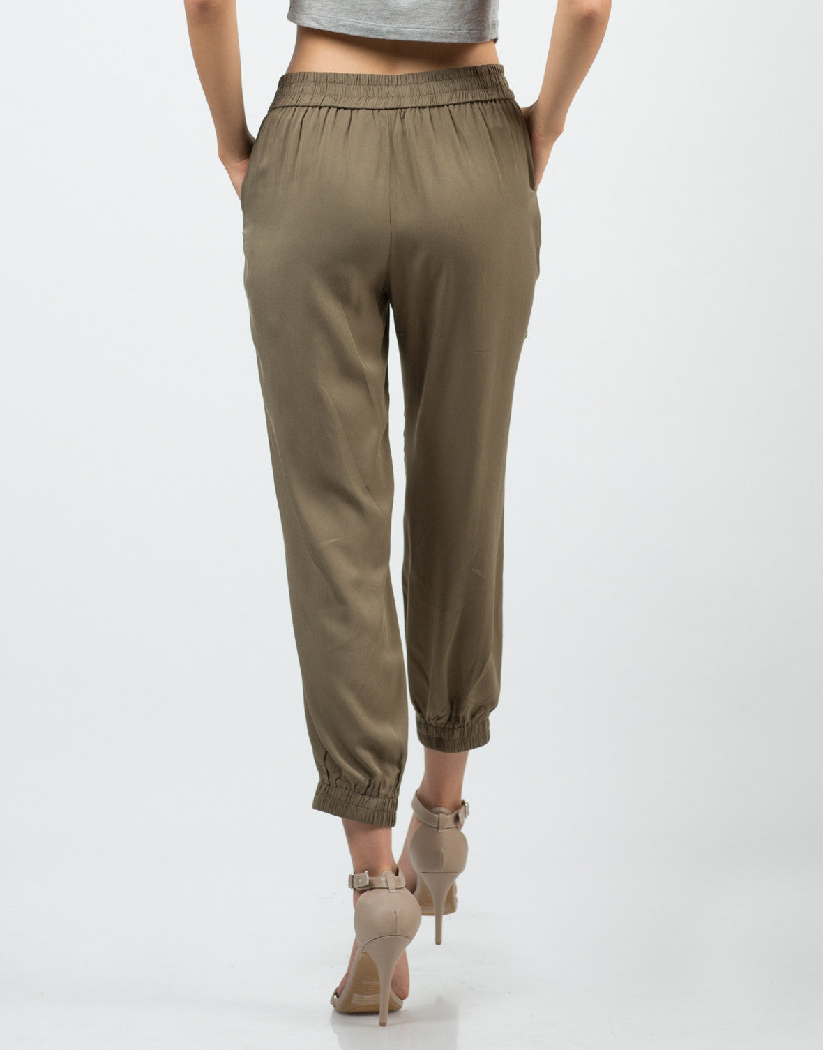 Back View of Drawstring Jogger Pants