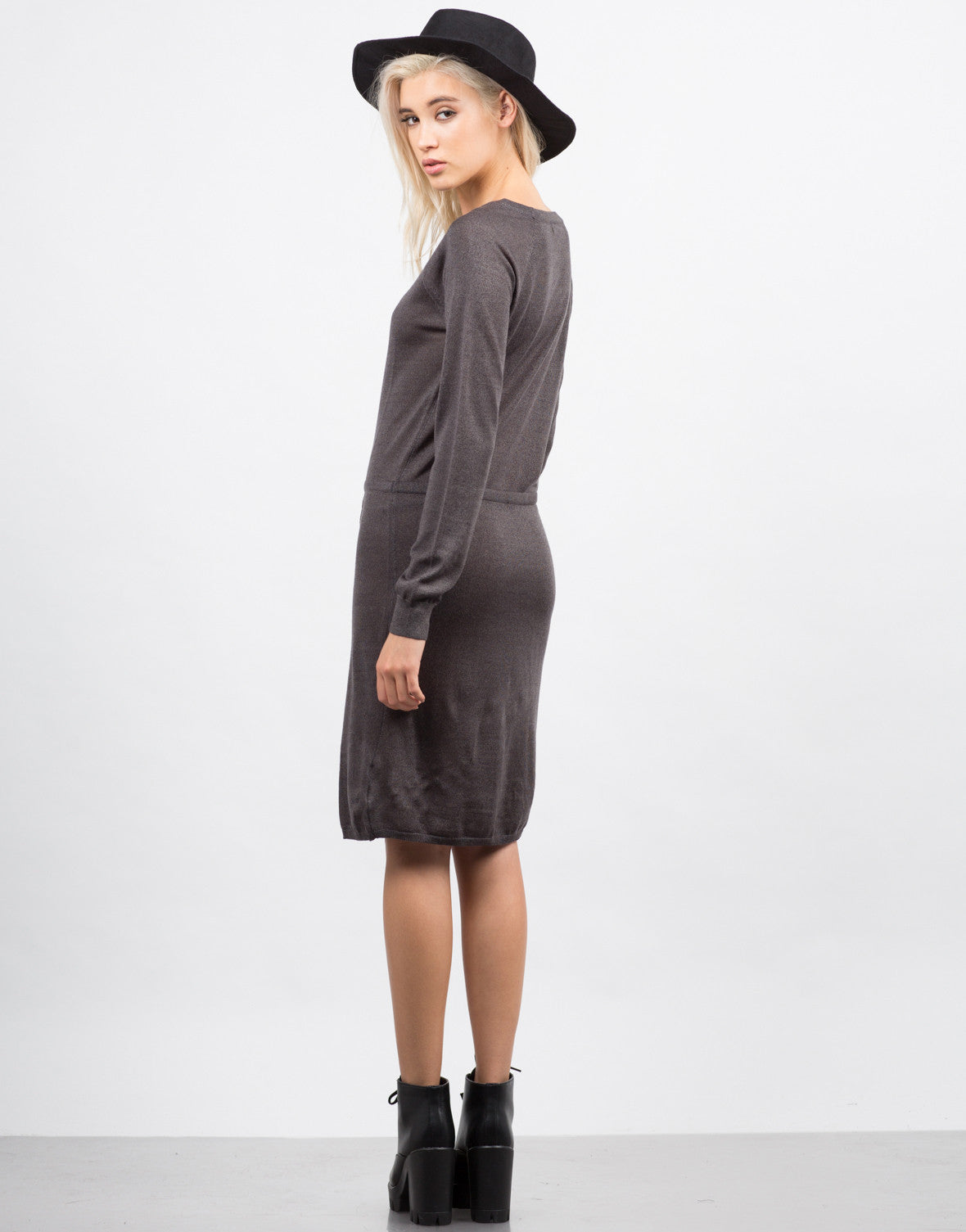 Back View of Drawstring Sweater Dress